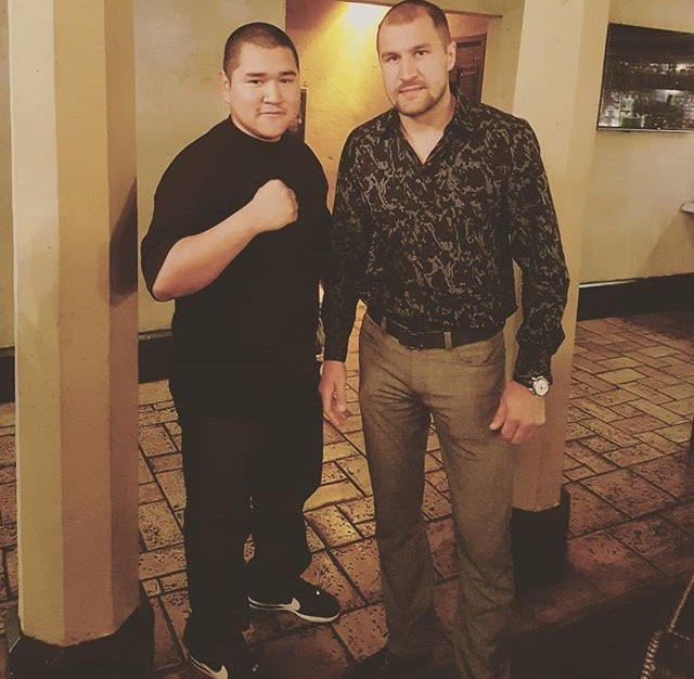 Sergey+%E2%80%9CKrusher%E2%80%9D+Kovalev+and+reporter+Erick+Inzunza%2C+at+the+Hollywood+Roosevelt+Hotel%2C+on+April+12%2C+2017+for+the+third+press+conference+of+Ward+vs.+Kovalev+2+rematch%2C+%E2%80%9CNo+Excuses%E2%80%9D.