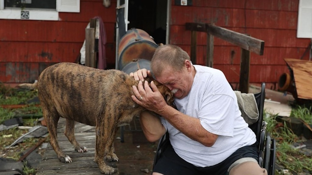 A+man+is+reunited+with+his+dog+after+hurricane+Harvey+flooded+Houston.