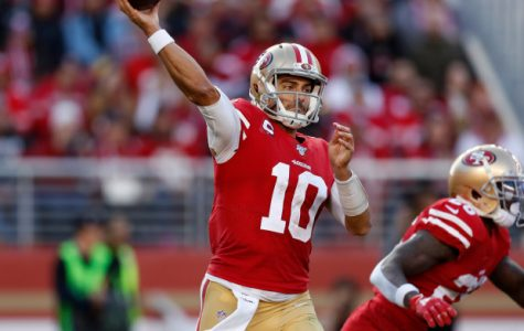 SANTA CLARA, CALIFORNIA - DECEMBER 15: San Francisco 49ers starting quarterback Jimmy Garoppolo (10) throws against the Atlanta Falcons in the second quarter at Levi's Stadium in Santa Clara, Calif., on Sunday, Dec. 15, 2019. (Nhat V. Meyer/Bay Area News Group)