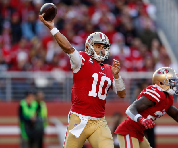 SANTA+CLARA%2C+CALIFORNIA+-+DECEMBER+15%3A+San+Francisco+49ers+starting+quarterback+Jimmy+Garoppolo+%2810%29+throws+against+the+Atlanta+Falcons+in+the+second+quarter+at+Levi%27s+Stadium+in+Santa+Clara%2C+Calif.%2C+on+Sunday%2C+Dec.+15%2C+2019.+%28Nhat+V.+Meyer%2FBay+Area+News+Group%29