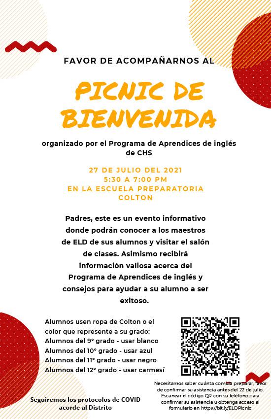 El programa EL de CHS organizará un picnic para todos los estudiantes y familias