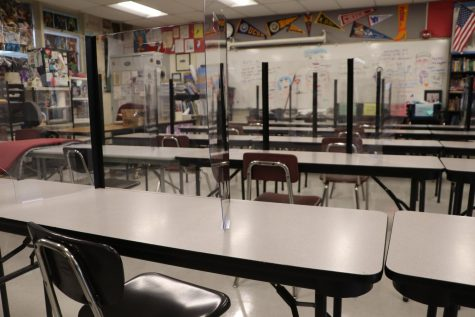 Two-person desks like these will no longer be in classrooms when school reopens August 4.