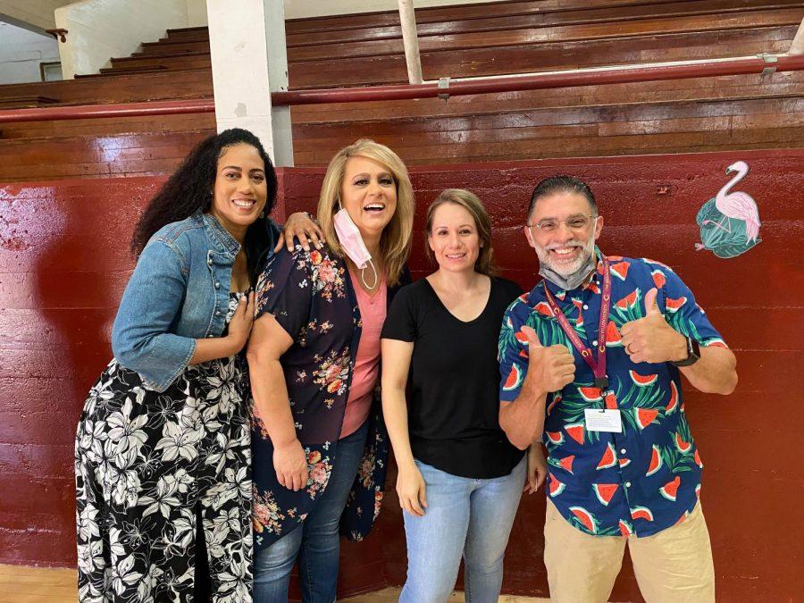 CHS Special Education Staff (from left: Donyael Bright-Robinson, Elise Thomas, Georgina Salazar, William Pereira) is gleefully reunited.
