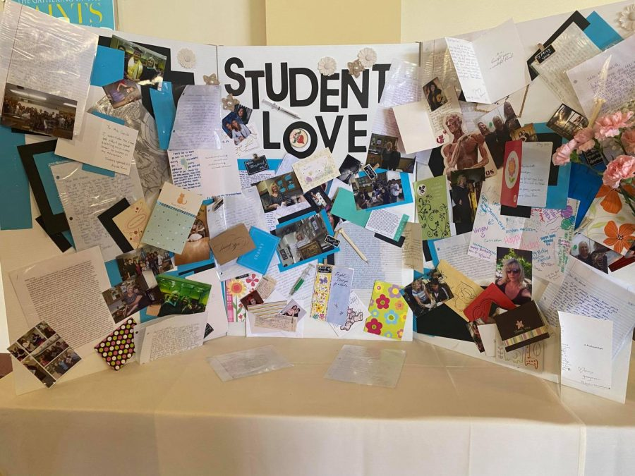 A display of notes from former students makes for a touching tribute to Ms. Garcia.