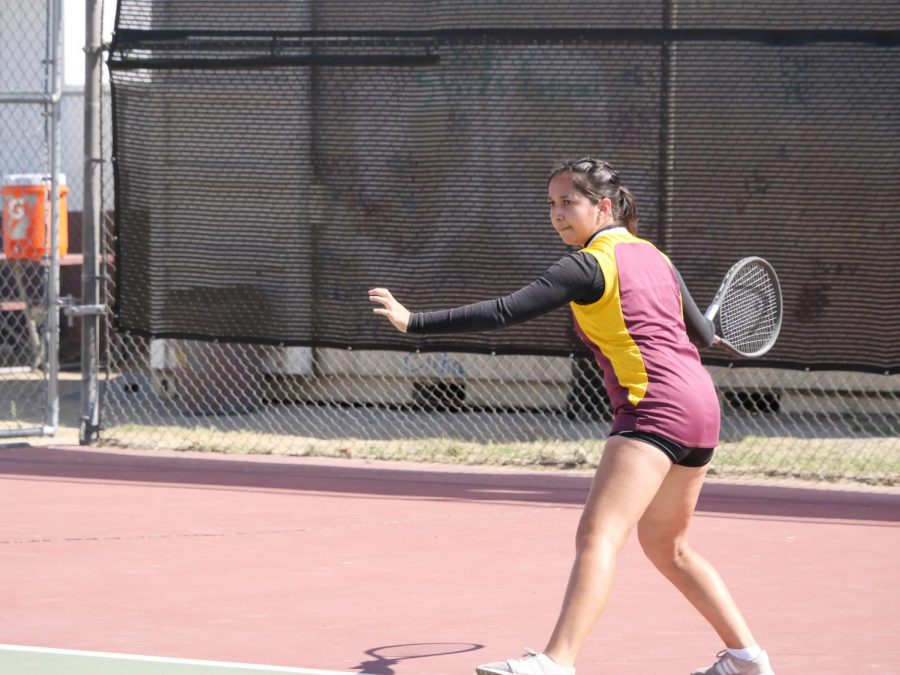 Shantel Marentes focuses on her crushing forehand in this preseason matchup against Coachella Valley.
