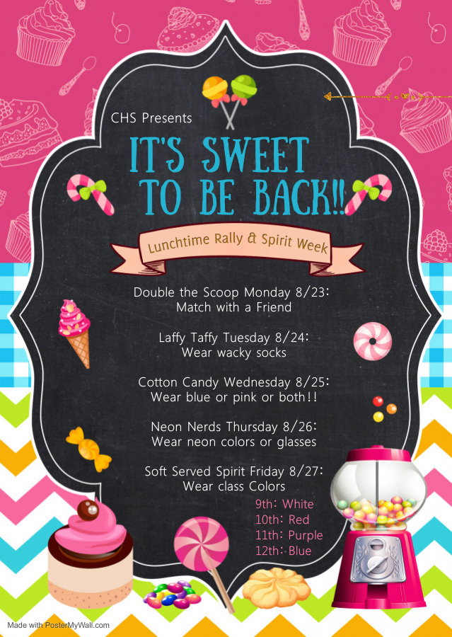 Event flyer for Its Sweet to Be Back Spirit Week reveals all the fun themes for the week.