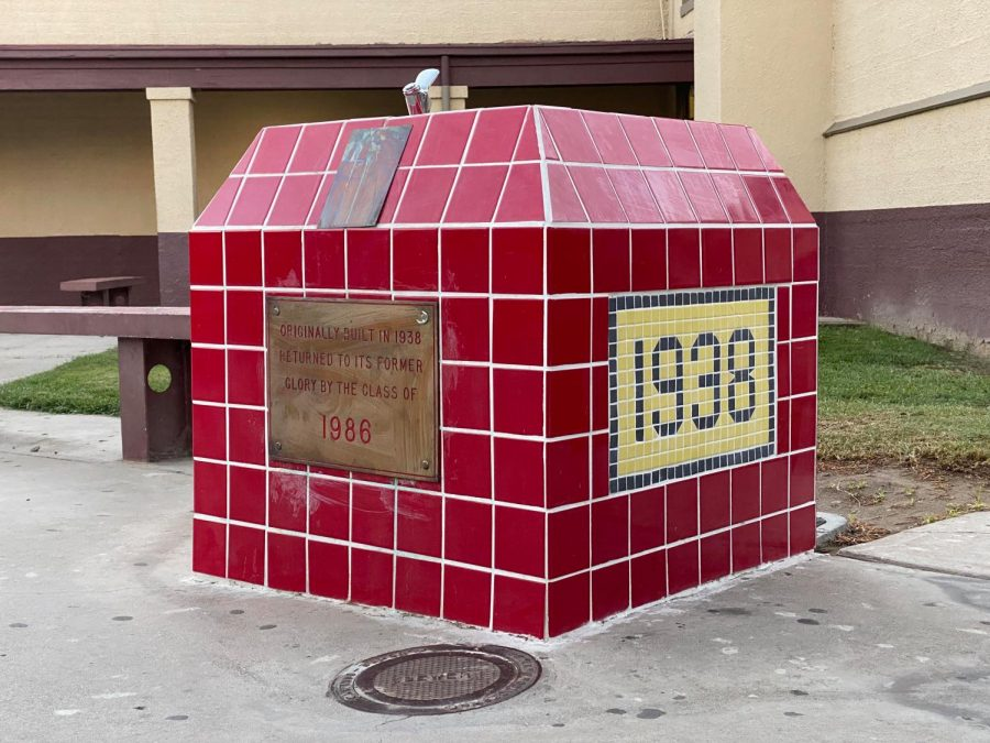 The CHS drinking fountain, outside the 100 building, has been a landmark on the Colton High campus since 1938.