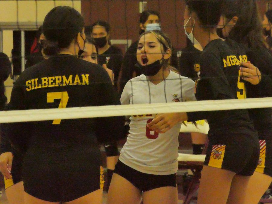 Senior libero Elena Torrero fires up her teammates against the Norte Vista Braves. The Lady Yellowjackets dropped this match, 3-1.