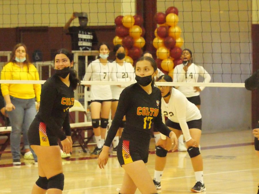 The+Yellowjackets+%28Mariah+Perez+and+Marissa+Herrera%29+were+all+smiles+as+they+took+three+straight+games+to+win+their+match-up+against+the+Arroyo+Valley+Hawks.