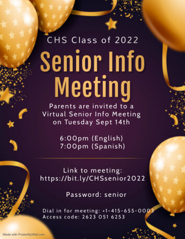 Senior Info Meeting Night for families is on Sept. 14. Use the link and password in this flyer to join the virtual meeting.