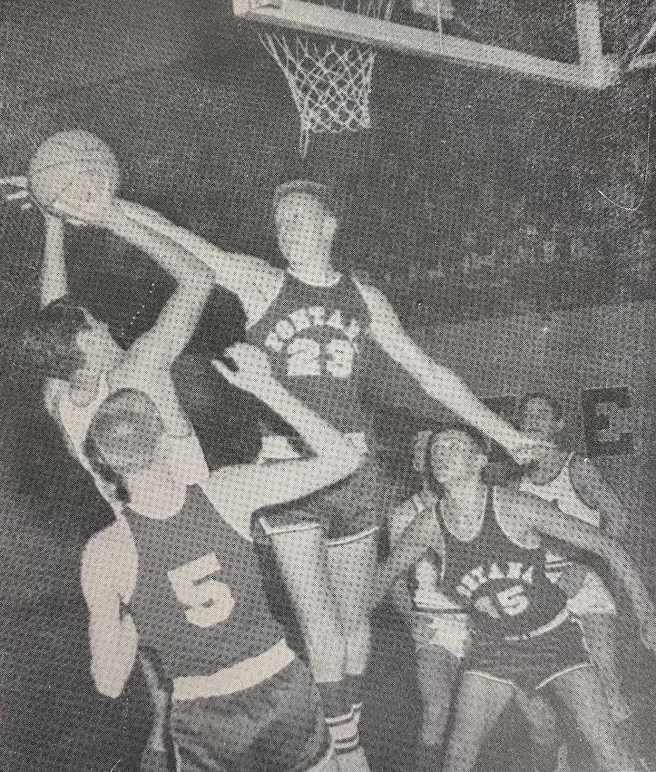 Ivy League and C.I.F. all-star, Bob Llamas, takes on a pack of Fontana Steelers. He led the 1965 Yellowjackets in scoring with 19.6 ppg.