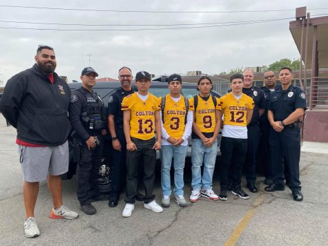 Colton PD recognized five Colton football players today for their contributions on the field as part of their Cops N Jocks program. Students featured (from left): Michael Razo, Gabriel Aparicio, Xavier Sandoval, and Steven Medina.