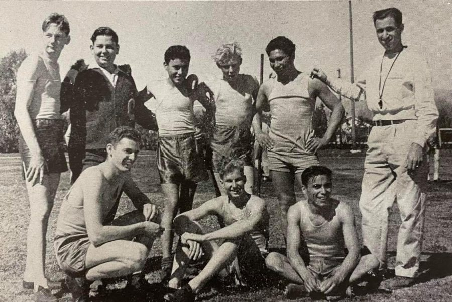 The 1944 Colton High Cross-Country team, featuring Bob Cherry (far left), won its second consecutive Sunkist League title that year.