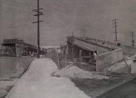 The Yellowjacket Bridge—once known as the Rancho Avenue Pedestrian Overpass—seen here under construction on November 7, 1960.