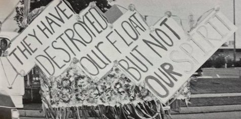 The Class of 1986 had their Homecoming Parade float destroyed before the parade, but their school spirit was not to be denied.