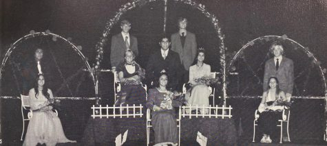 The 1973 Homecoming Court featured two Queens: Cross-Country Queen Martha Perez (center) and Football Queen Robin Tidwell (center left).