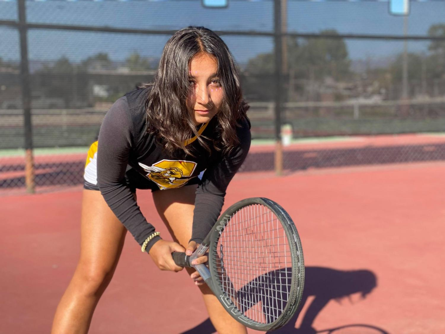 Shantel Marentes, grade 10, has found her place on the tennis court.