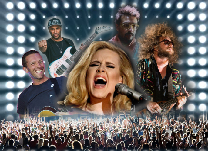 This weeks Vibe centers around new music by established artists (from left: Chris Martin of Coldplay, Tom Morello, Adele, Conor Murphy of Foxing, and Jim James of My Morning Jacket).