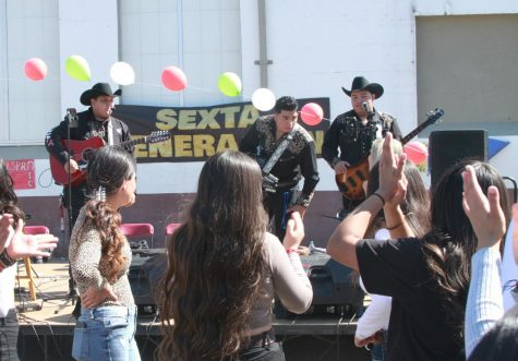 Sexta Generación (from left: Sergio Macias Duran of CHS, Ismael Martinez of GTHS, and Martin Perez Alvarez of CHS) play before the excited crowd of Colton High students during lunch on Thursday in celebration of Hispanic Heritage Month.