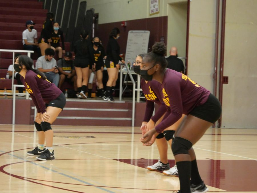 The back line of the JV squad (from left: Sienna Rodriguez, Alyssa Gonzalez, and Grace Osueke) is ready for action.