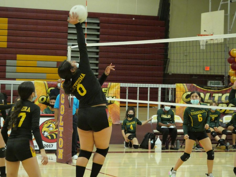 Senior middle blocker Zamantha Moctezumas performance was a bright spot in yesterdays disappointing loss to Eisenhower High.