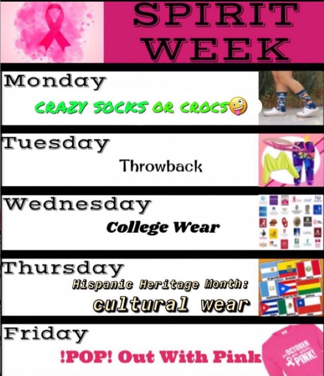 Oct. 11-15, CHS is celebrating Spirit Week! This image gives a breakdown of what to wear each day of the week.