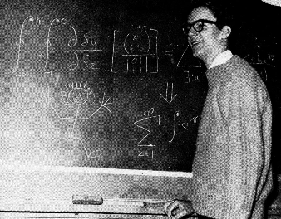 Walter Gish, a CHS alum, in 1964, playing around with math.